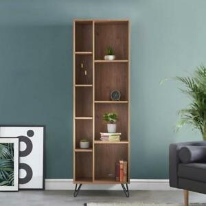 Retro Shelving Display Unit Wood Tall Compartments Shelves Sections Cabinet Oak