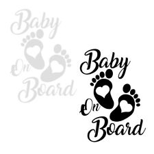 1pc 12*17cm Creative Baby On Board Foot Heart Car Sticker PET Decal Durable