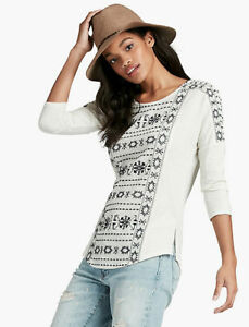 LUCKY BRAND Womens Geo Embroidered Top, Whisper White, Size Large NWOT [RRP $90]
