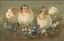 Easter - Baby & Chick Hatching From Eggs GILT FINISH c1910 Postcard
