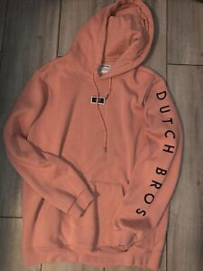 Dutch Bros Coffee Hoodie Salmon Pink Patch Sz Womens L with 3 Patches