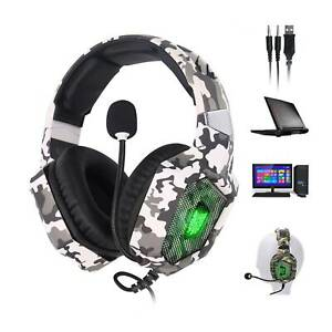 UK Camouflage ONIKUMA USB Gaming Headset Headphone PS4 XBox Switch 3.5MM MIC K8