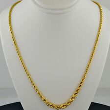 10K YELLOW GOLD 18 INCH GRADUATED HOLLOW ROPE NECKLACE FREE SHIPPING