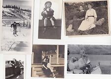 6 Old Vintage Antique Photographs Women Children Golf Cart Skiing Car Group #3
