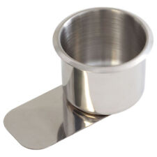 Small Slide Under Poker Table Stainless Steel Cup Holder - New -Free Shipping!