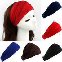 Womens Running Soft Wide Hairband Yoga Elastic Stretch Headband Turban Head Wrap
