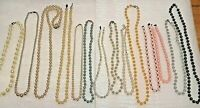 14 vintage beaded necklaces. white, pink, gold tone clasp, 925 freshwater pearls