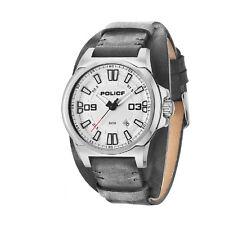 Orologio Solo Tempo Uomo Police PL14200JS/04 Acciaio Silver Pelle Nero Watch