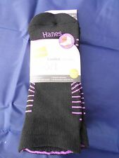 3 Pack Hanes Sport No Show Comfort Collection Socks Black Blue Pink 5-9