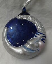 "Blue and Silver Blown Glass Man in the Moon Ornament (4""+ long) Signed"