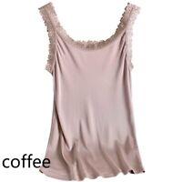 Women Lady Cosy Pure Silk Lace Camisole Strap Tank Top Vest Spaghetti Soft Solid