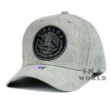 MEXICAN hat MEXICO Federal Logo SINALOA Curved bill Baseball cap- H.Gray/Black