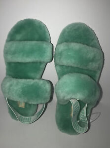 UGG Fluff Yeah Slide Apple (Green) Sheepskin  Slingback Slippers Size US 9 NWOB!