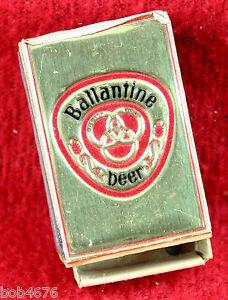 Scarce Vintage 1950s BALLANTINE BEER Gold Foil Wood Matchbox Made in Sweden