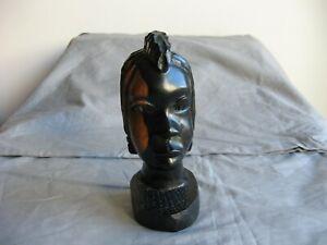 Ancienne statuette africaine en bois sculpté bi-colore tribu Afrique XIXeme ??