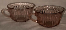 "2 Anchor Hocking QUEEN MARY PINK *3 3/4"" LARGE CUPS*"