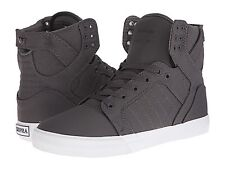 0537304fd9f8d SUPRA Skytop Mens Grey White Nylon High Top Lace up SNEAKERS Shoes 7.5