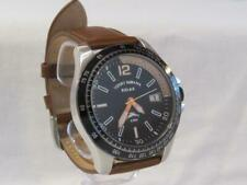 Men'sTommy Bahama Silvertone Watch Black Dial Leather Band Date Tachymetre