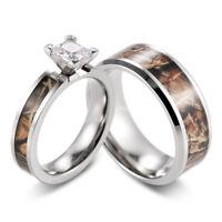 SHARDON Womens 5mm Titanium Brown Tree Camo Wedding Ring with White Square CZ Stone