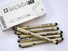Lot 6 SAKURA 05/ 0.45mm  Pigma Micron Pens Micro Pigment Ink Black PENS