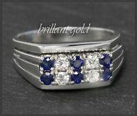 1ct Diamant Brillant & Saphir 585 Gold Damen Ring, Cocktailring Vintage 1950