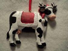 "KSA RESIN ""CHRISTMAS COW ~ BLANKET"" Ornament ~ New ~ CUTE"