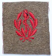 Insigne tissu 1939 WWII CADUCÉE MÉDECIN SERVICE DE SANTE UNIFORME FRANCE N°2