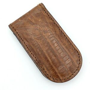 FOSSIL textured brown leather money clip - NEW folding magnetic closure genuine