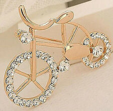 Fd727 Gold Plated Sweet Girl Rhinestone Cystal Bike Bicycle Brooch Pin 1pc G