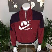 Nike Sportswear 1/4 Xip Large Centre Swoosh Spell Out Sweatshirt Burgandy Small