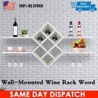 2 Tier Wall Mount Wine Rack w/ Glass Holder & Storage Shelf Organizer Home Decor