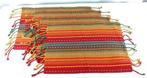 Pier 1 Multi Stripe Placemats Set of 4 Red Orange Fringe 14 x 20 Boho Southwest