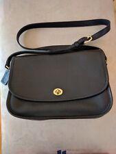 Vintage Coach 9790 Black Leather Classic City Flap Shoulder Bag