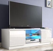 WHITE GLOSS TV Cabinet Unit Entertainment Stand Glass Shelf LED Blue Light 120cm