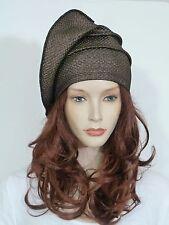 Fearlessly stylish lagenlook shimmery bronze/ black waffle slouchy beanie hat