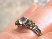 ADORABLE ART DECO RHINESTONE MINIMALIST PETITE RING - UNCAS STERLING GOLD FILLED