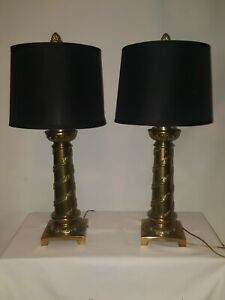 PAIR OF BRASS SILVER IVY WRAPPED TABLE LAMPS