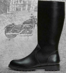Mens Military Black Boots Mid-Calf Zip German Faux Leather Combat Officer Riding