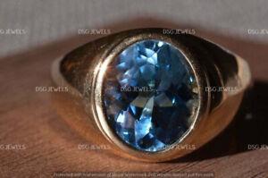 MEN'S 14k Rose Gold Finish 5 Ct Oval Bezel Set Blue Sapphire Wedding Pinky Ring