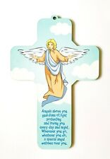 """GUARDIAN ANGEL - Slim 7"""" Wooden Cross - Lovely Gift for a Child"""