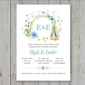 25 Peter Rabbit personalised joint christening invitations baptism naming day