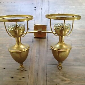 VINTAGE FRENCH URN BRASS OIL LAMP STYLE 2 ARM WALL LIGHT FITTING SHABBY CHIC