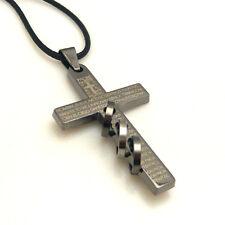 Anhäng Jesus Kreuz 3 Ring Bibel Edelstahl Halskette Leder Kette Herren Unisex