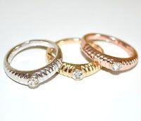 ANELLO donna SET FEDINE Argento Oro cristallo cerimonia san valentino regalo 31