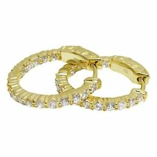 Sterling Silver Genuine Gold Finish One Row CZ 20mm Hoop Earrings