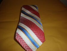 EDWARD ARMAH MEN'S TIE NEW NO TAG STRIPES WHITE, GOLD, BLUES, RED