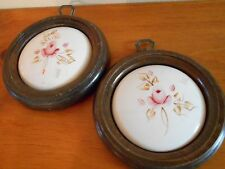Set of 2 Porcelain Plaques with Pink Roses Vintage Home Interiors