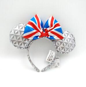 Disney Park United Kingdom Epcot Flag Minnie Mouse Ears Bow Mickey Headband