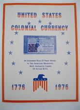 1976 Story of United States Colonial Currency Book / Album NOS 12+ pages