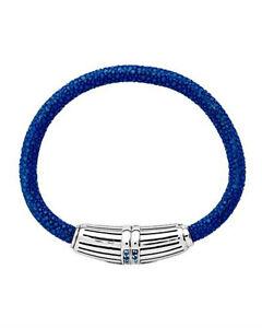 ALAN K Bracelet W/CZ Blue Genuine stingray leather and 925 Sterling Silver 7in